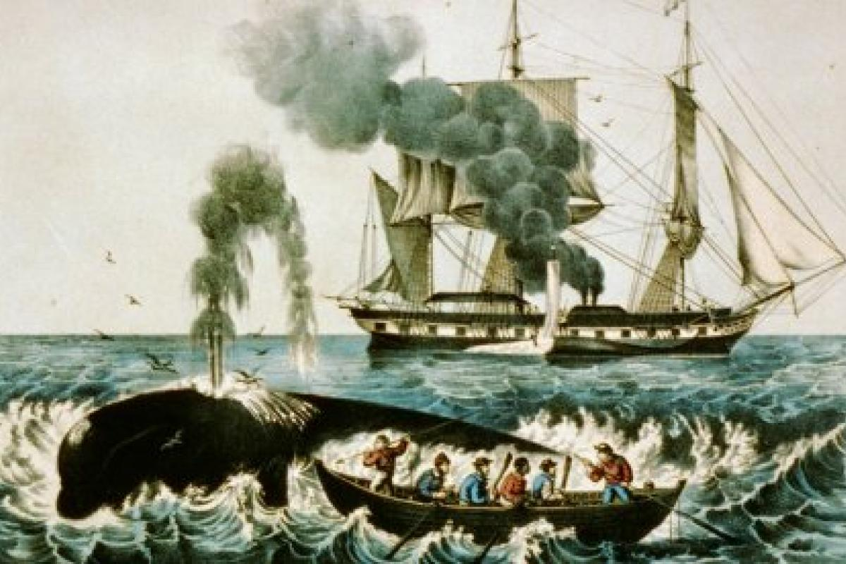 "Currier & Ives, ""Whale Fishery,"" hand-colored lithograph, late-19th century"