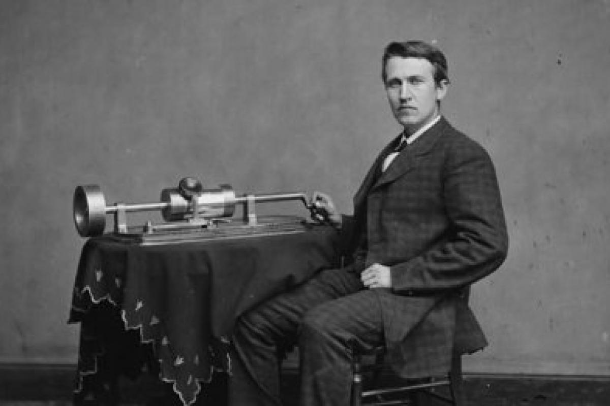 photo, black and white: Thomas Edison with phonograph, 1870s