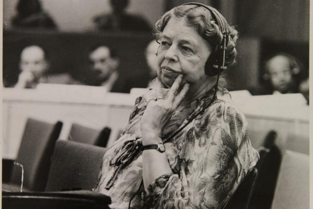 Delegate Eleanor Roosevelt at a meeting of the United Nations, 1947