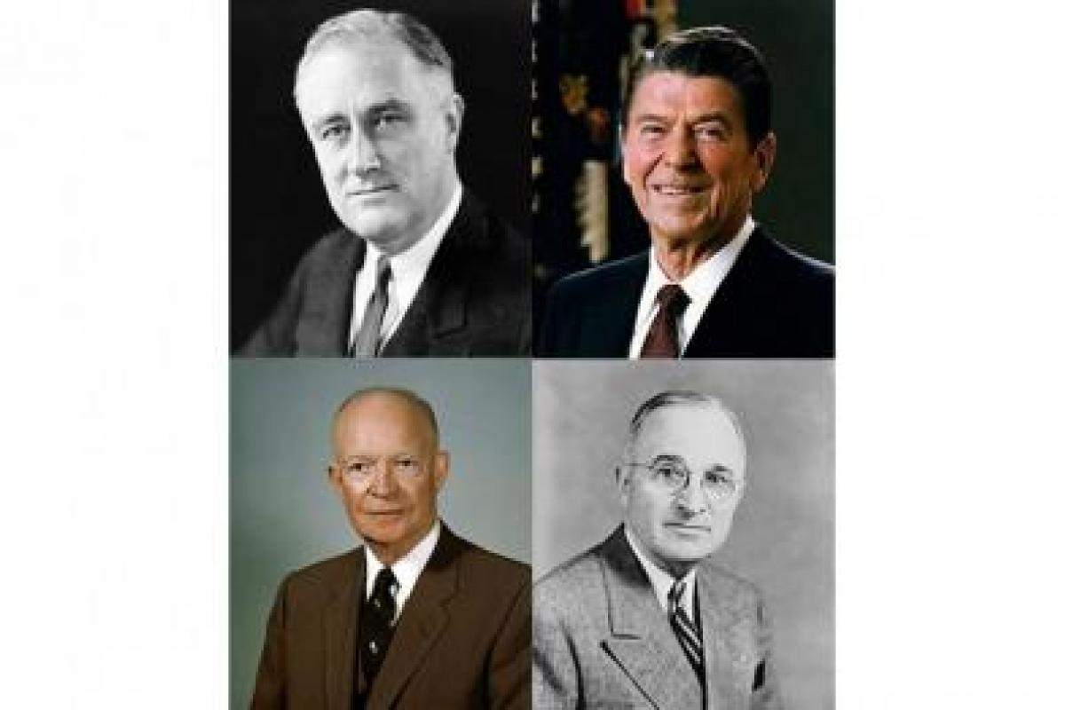 Presidents FDR, Reagan, Truman, Eisenhower (going clockwise)