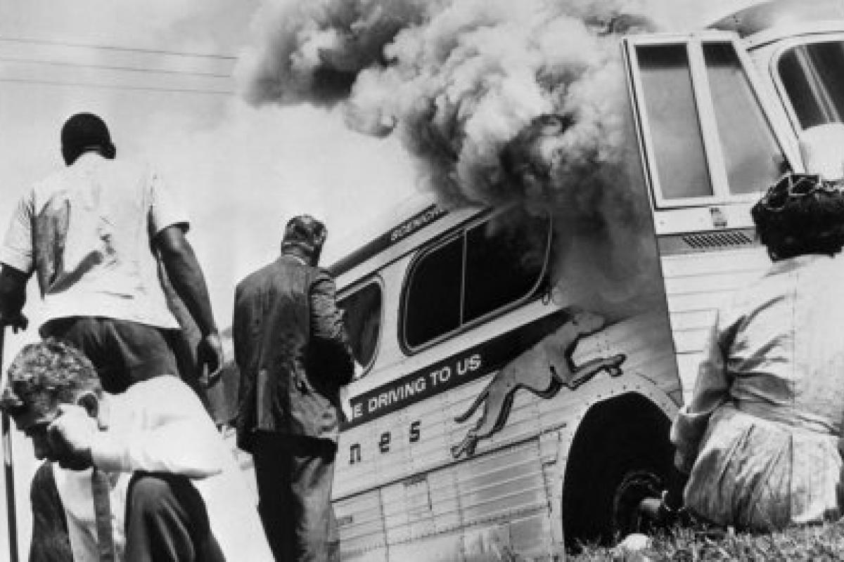 image of a burning bus from the Freedom RIders film