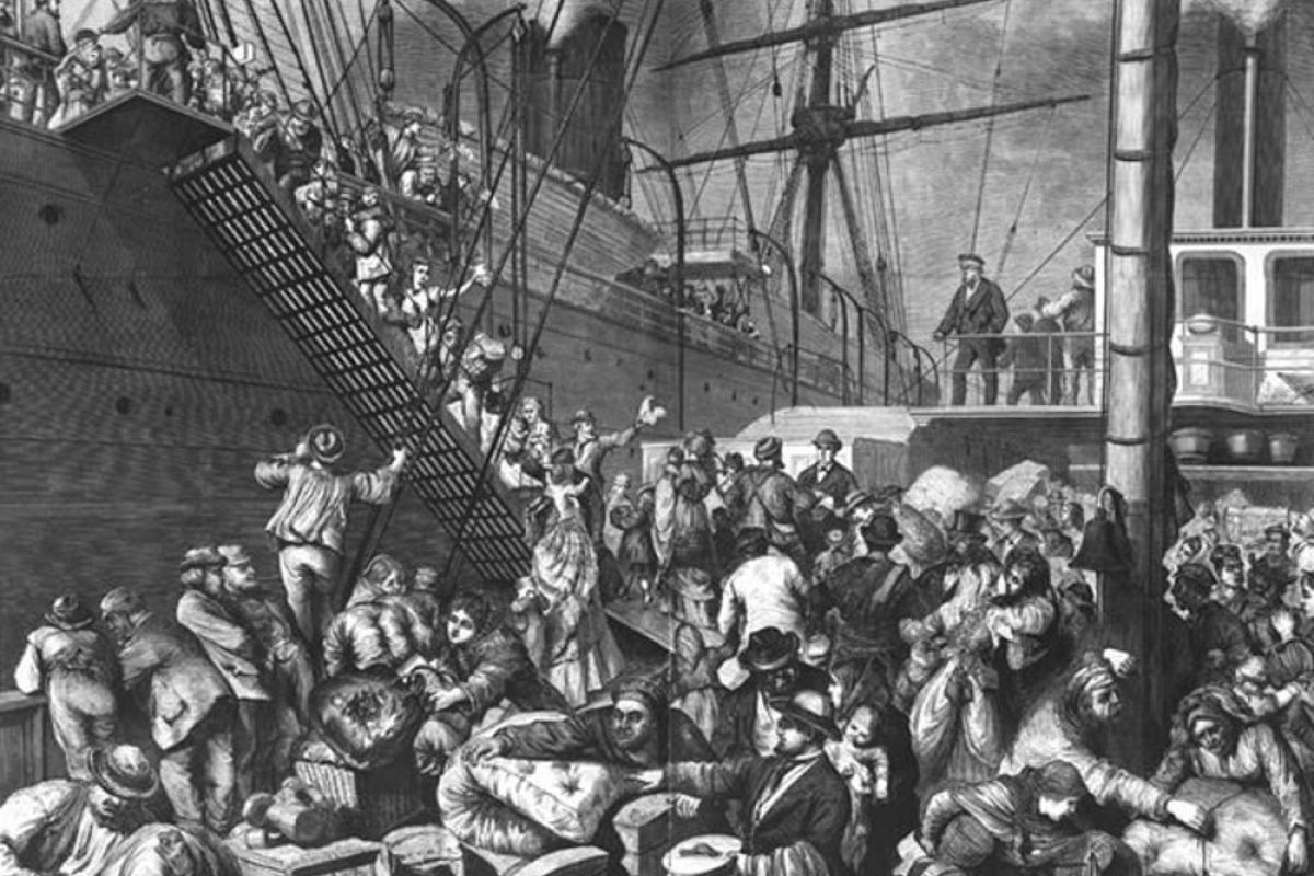 Emigrants embarking on a ship