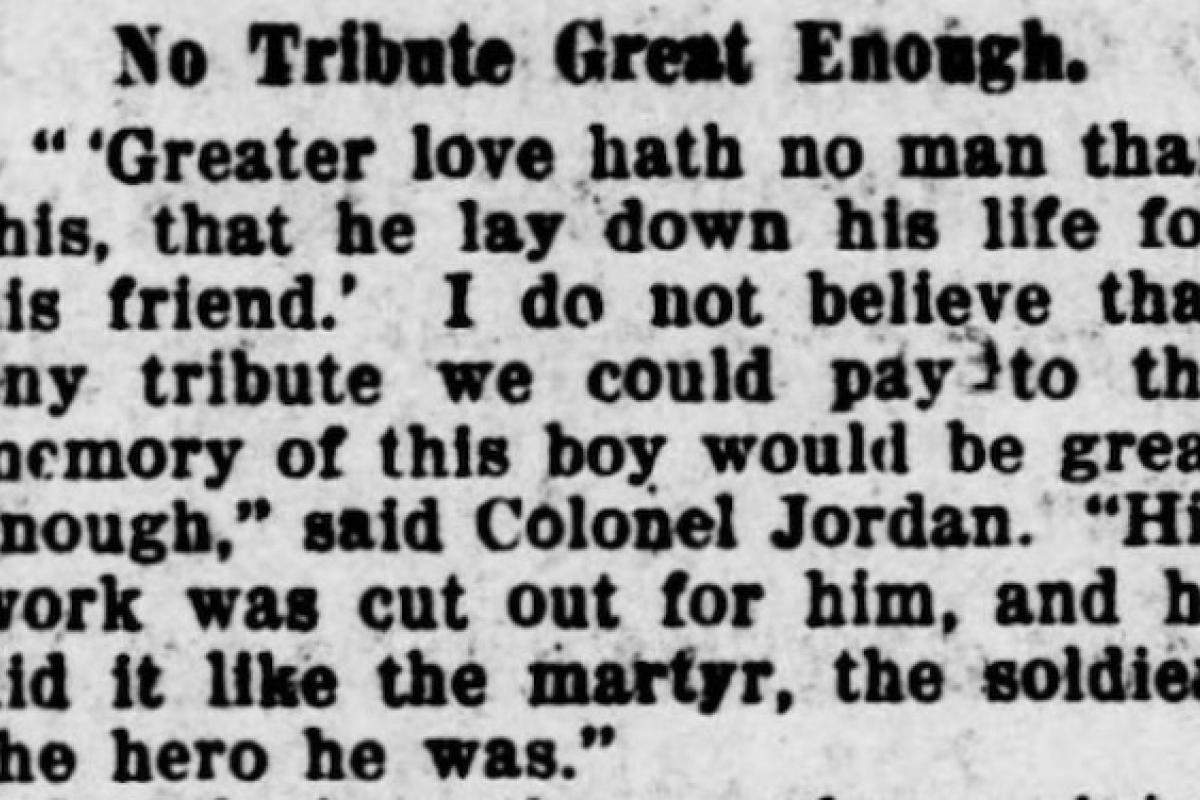A newspaper memorial to an Rock Island soldier