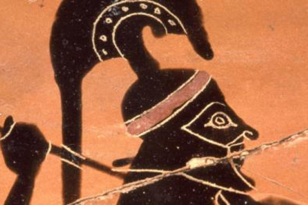 Image of a Greek warrior on ancient Greek pottery
