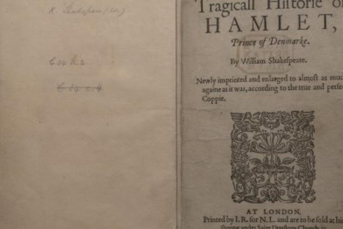 Photo of Hamlet, 1605 copy of the original text