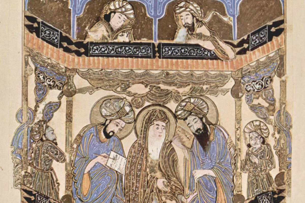 illustration depicts scholars around 1287 CE