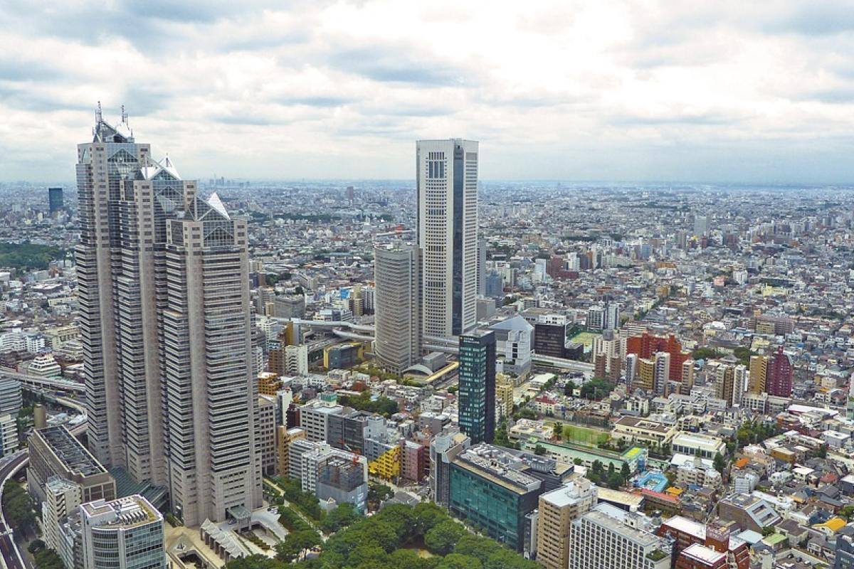 Shinjuku Park Tower, NTT East, and Tokyo Opera City, view from the Tokyo Metropolitan Government Building No.1