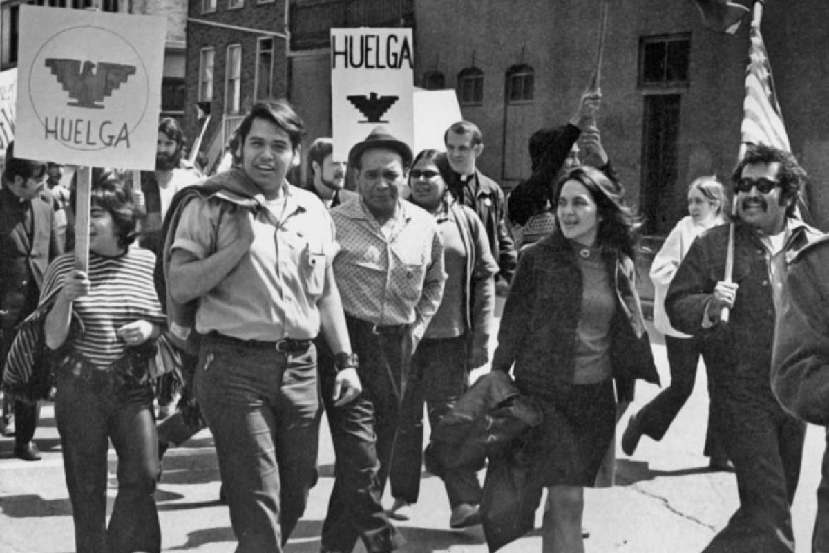 Eliseo Medina, left, and Dolores Huerta at a march. Chicago, Illinois, 1971.