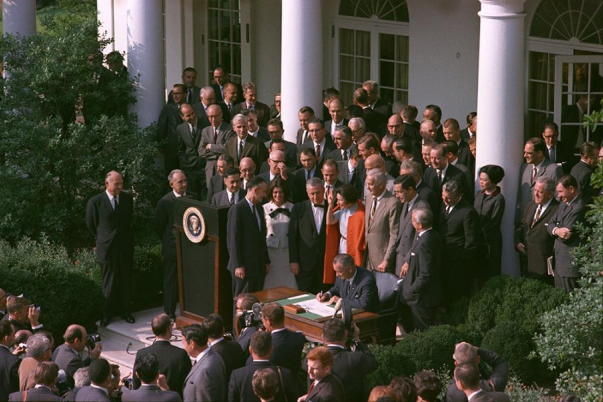 LBJ signing the National Foundation on the Arts and the Humanities Act of 1965