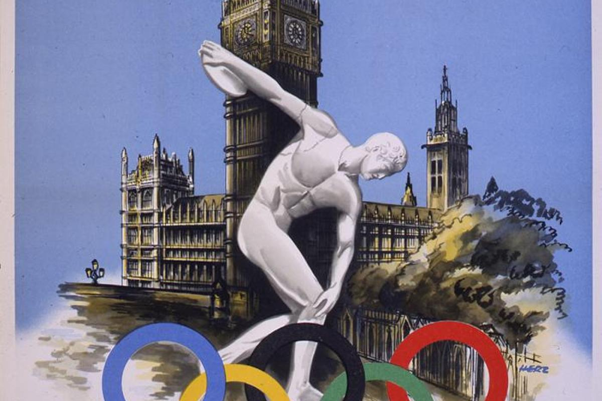Poster from 1948 London Summer Olympics:discuss thrower and Houses of Parliament