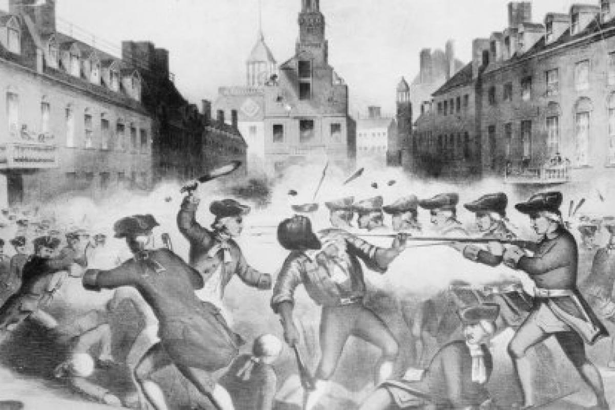 Image of Crispus Attucks being attacked by British soldiers