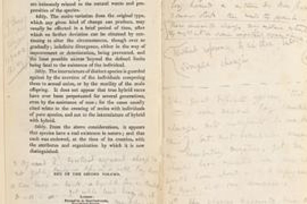 Annotations by Charles Darwin in  Charles Lyell's Principles of Geology
