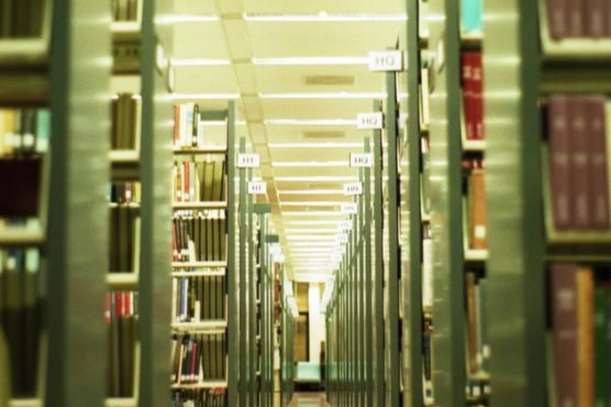 photo of library stacks, McHenry Library, University of California Santa Cruz