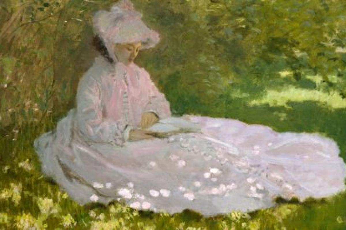 Monet painting: seated woman, reading in spring garden