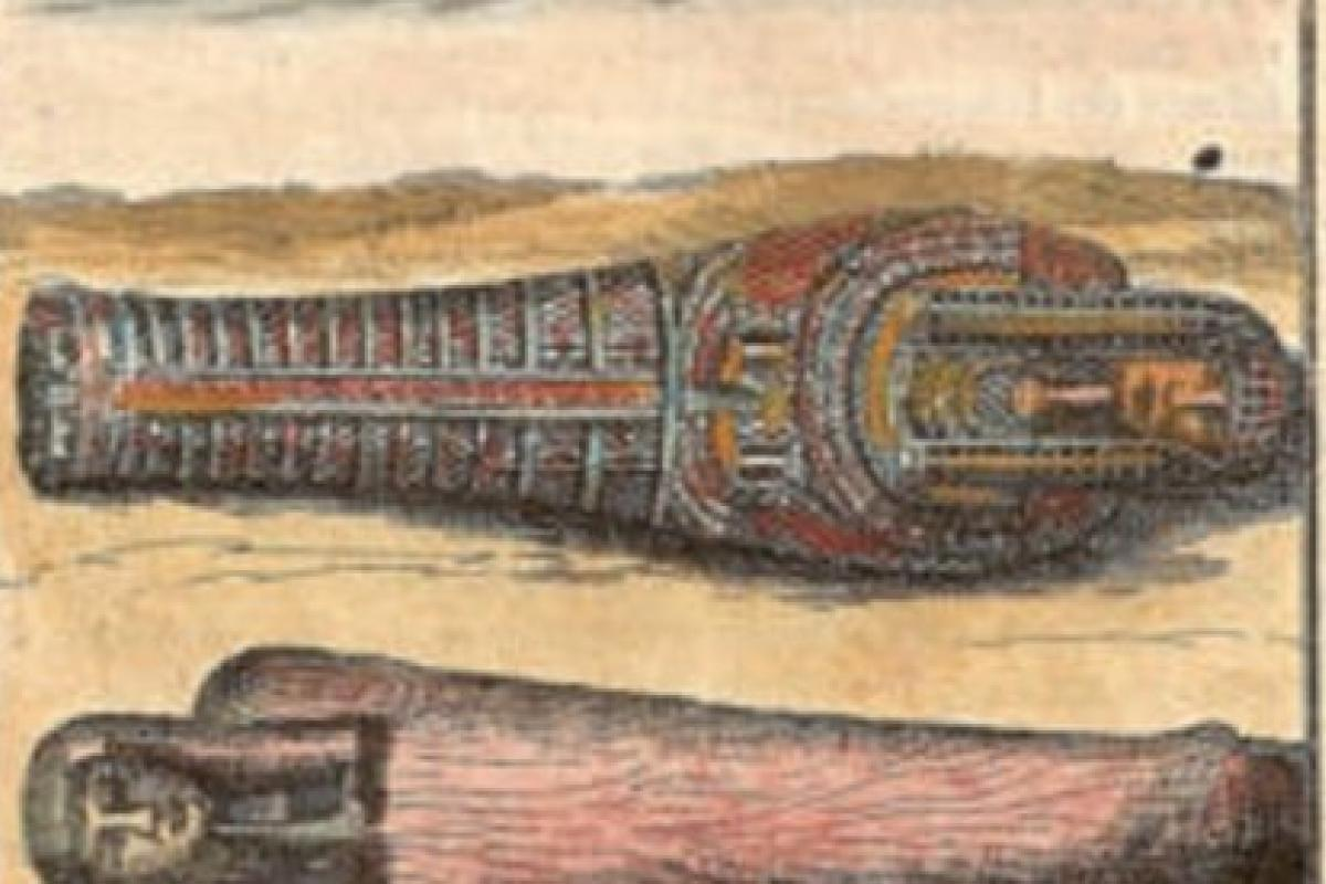 Color picture of two mummies laying side-by-side, head to toe.