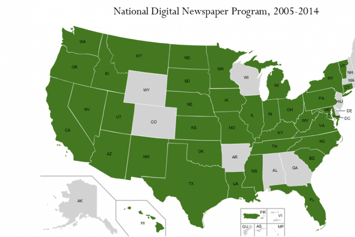 Map of US showing members of National Digital Newspaper Program