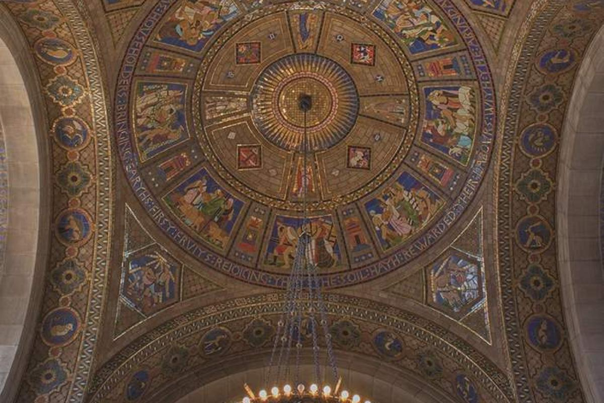 Tile vaulting with mosaic murals