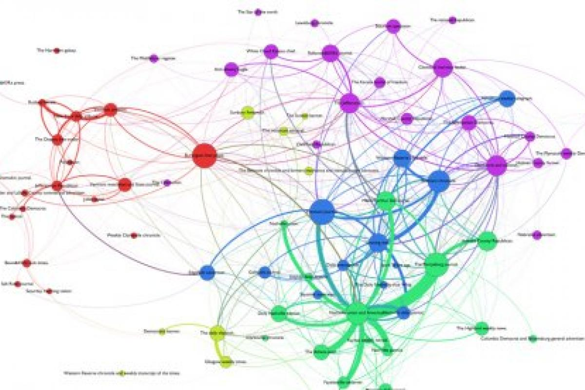 Colorful image of a network analysis done on 19th century newspaper printing.