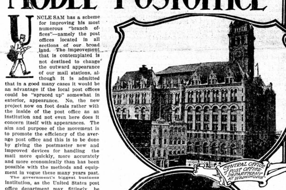 Front Page from newspaper The Appeal showing model of post office