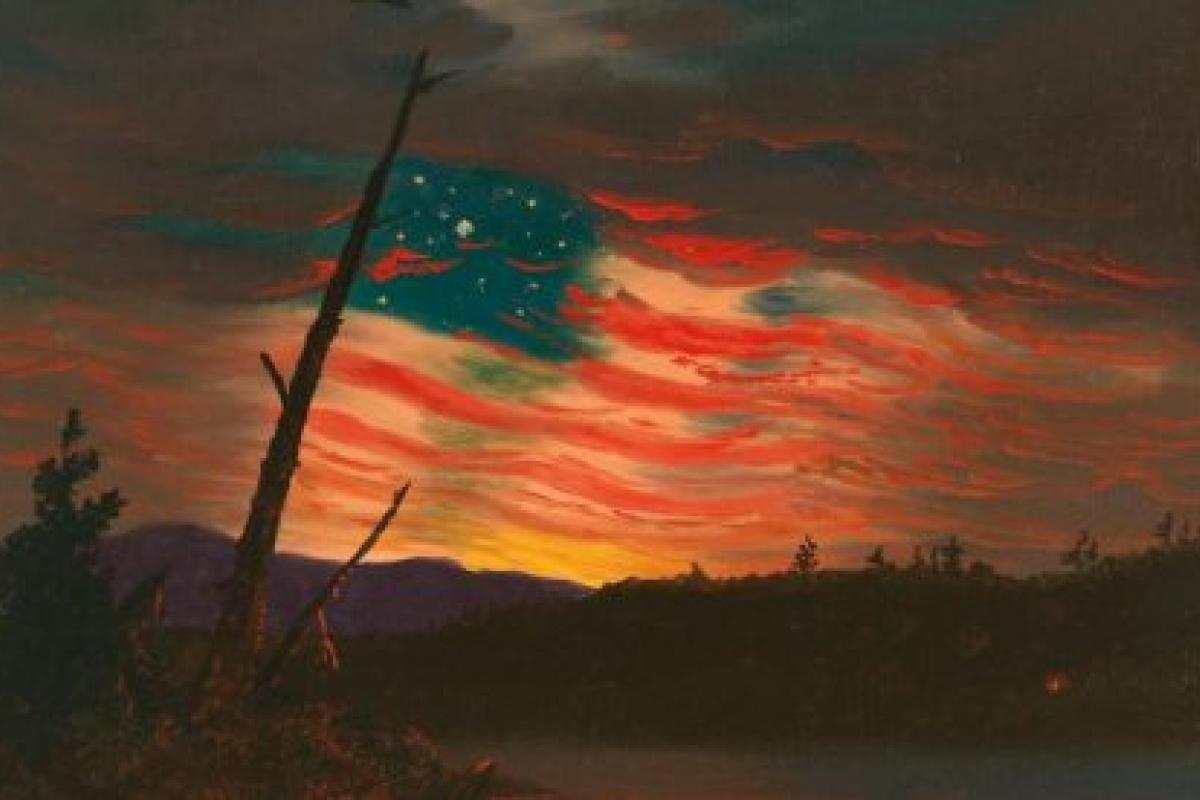 """Our Banner in the Sky"" (ca. 1861 attributed to Frederic Church)"