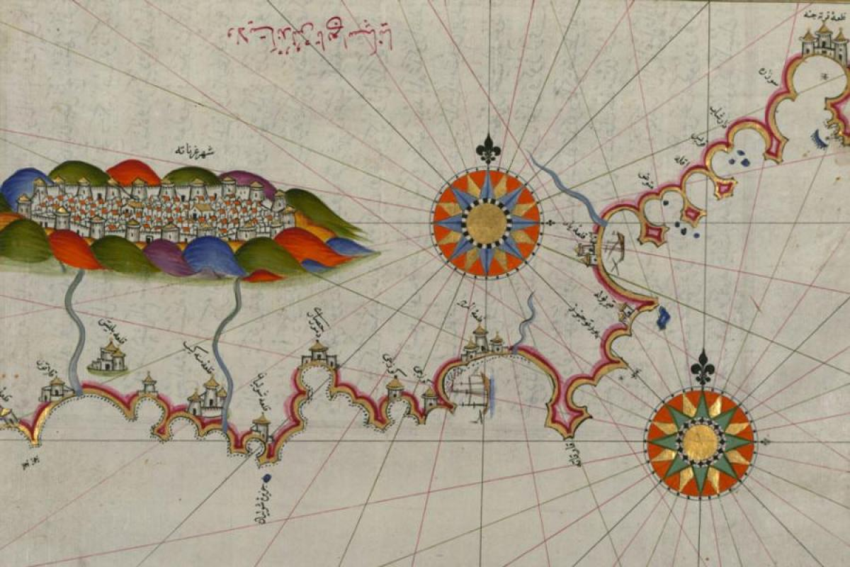 Fifteenth-century map by Piri Reis, Andalusia and Granada