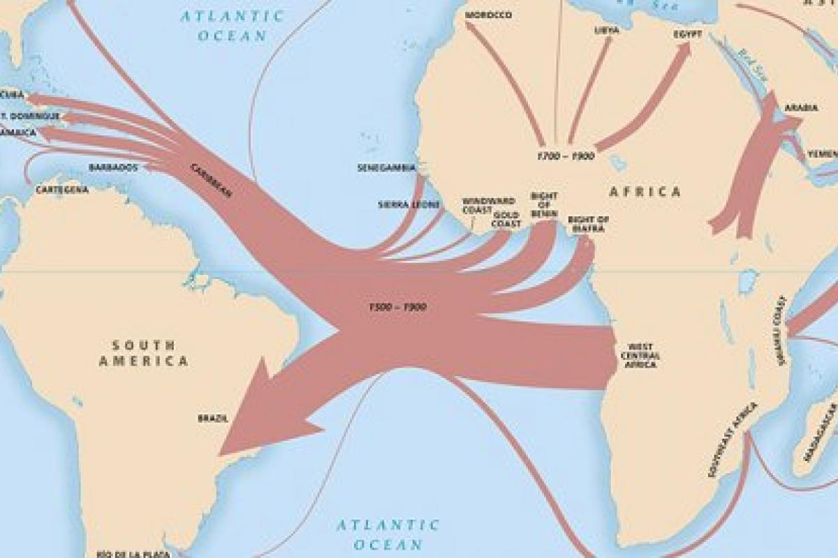 map of the slave trade routes from 1500 to 1900