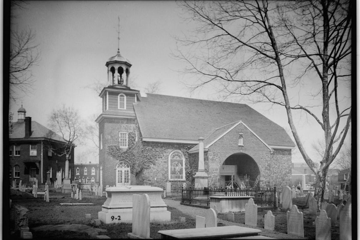 Southwest view of Old Swedes Church