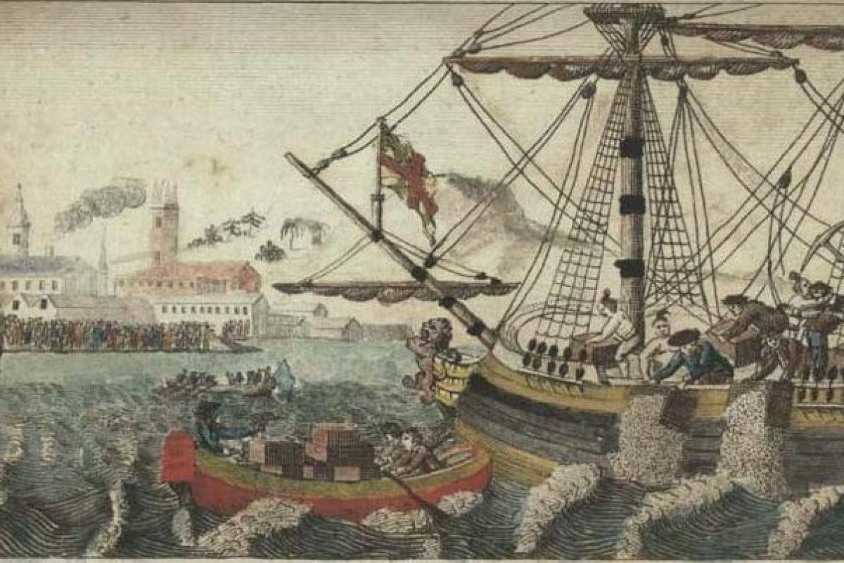 Painting of the The Boston Tea Party