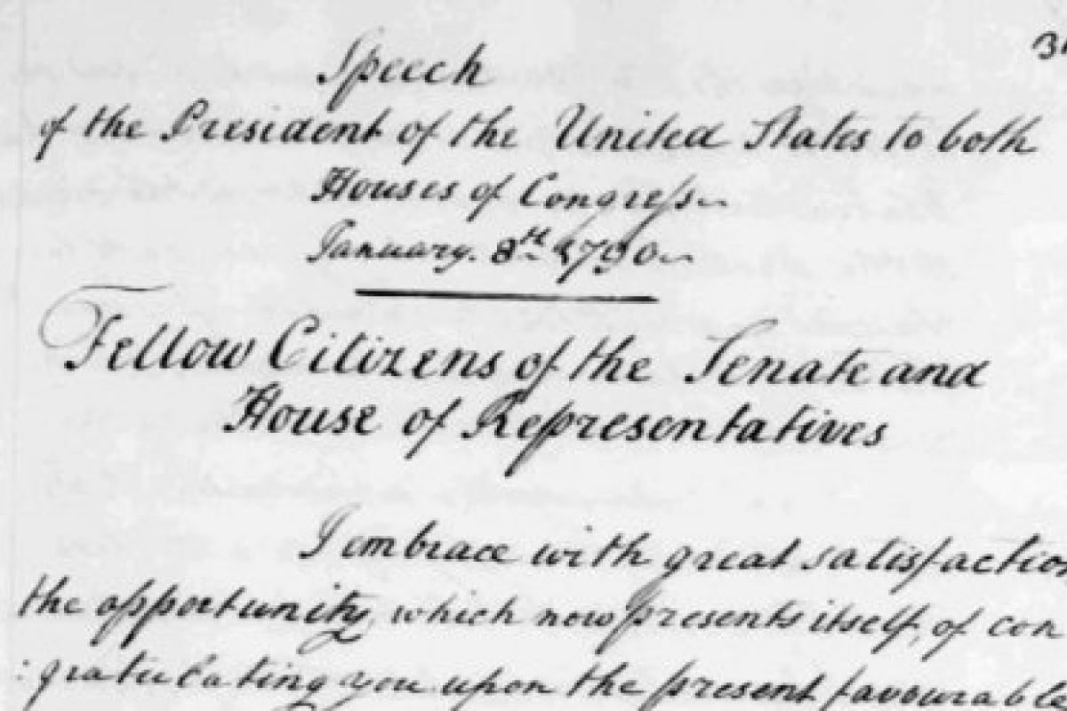 George Washington's first state of the union address, manuscript notes