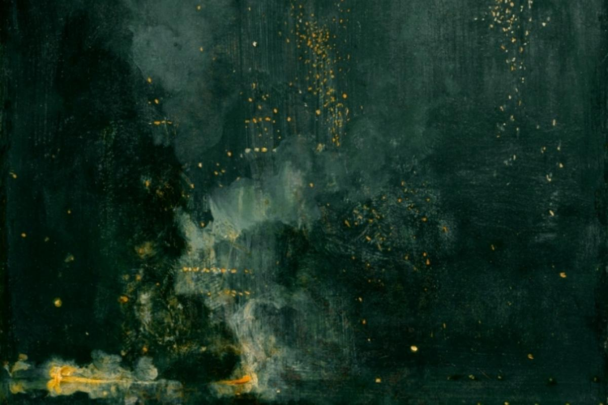 "James McNeill Whistler, ""Nocturne in Black and Gold, the Falling Rocket,"" 1875, oil on panel, 60.2x46.7 cm, Gift of Dexter M. Ferry Jr."