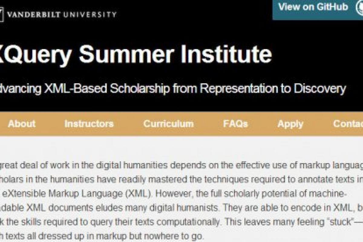 Screenshot from the XQuery Summer Institute website