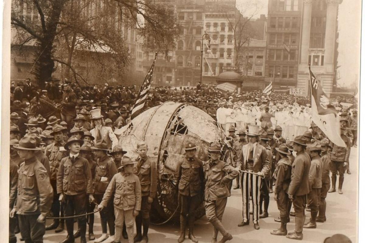 A photo taken of Americans in Europe, shortly after the U.S. entered World War I.