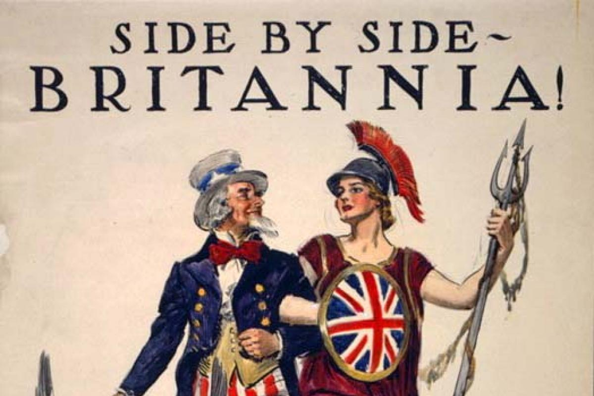 WWI poster of Uncle Sam with Britannia