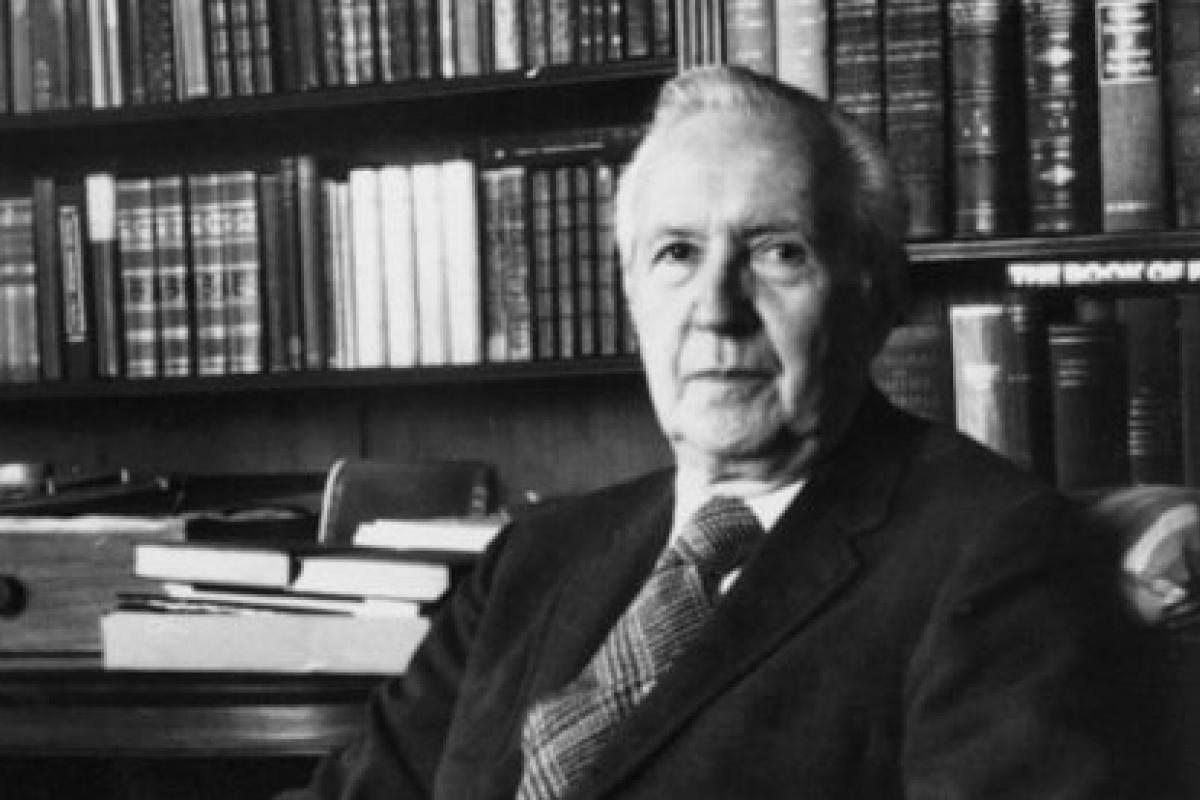Jacques Barzun in his library, black and white photo