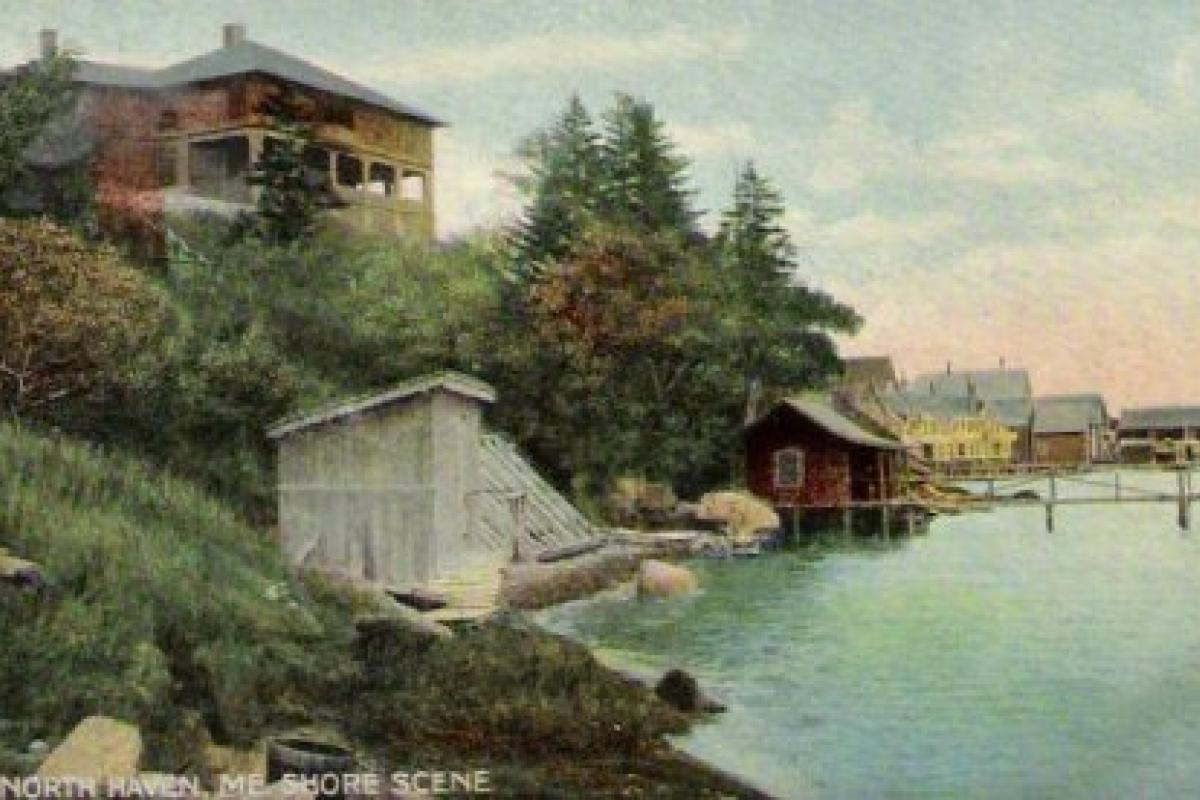 Painting of a waterfront scene with boathouses in the background and a house on a hill to the left.