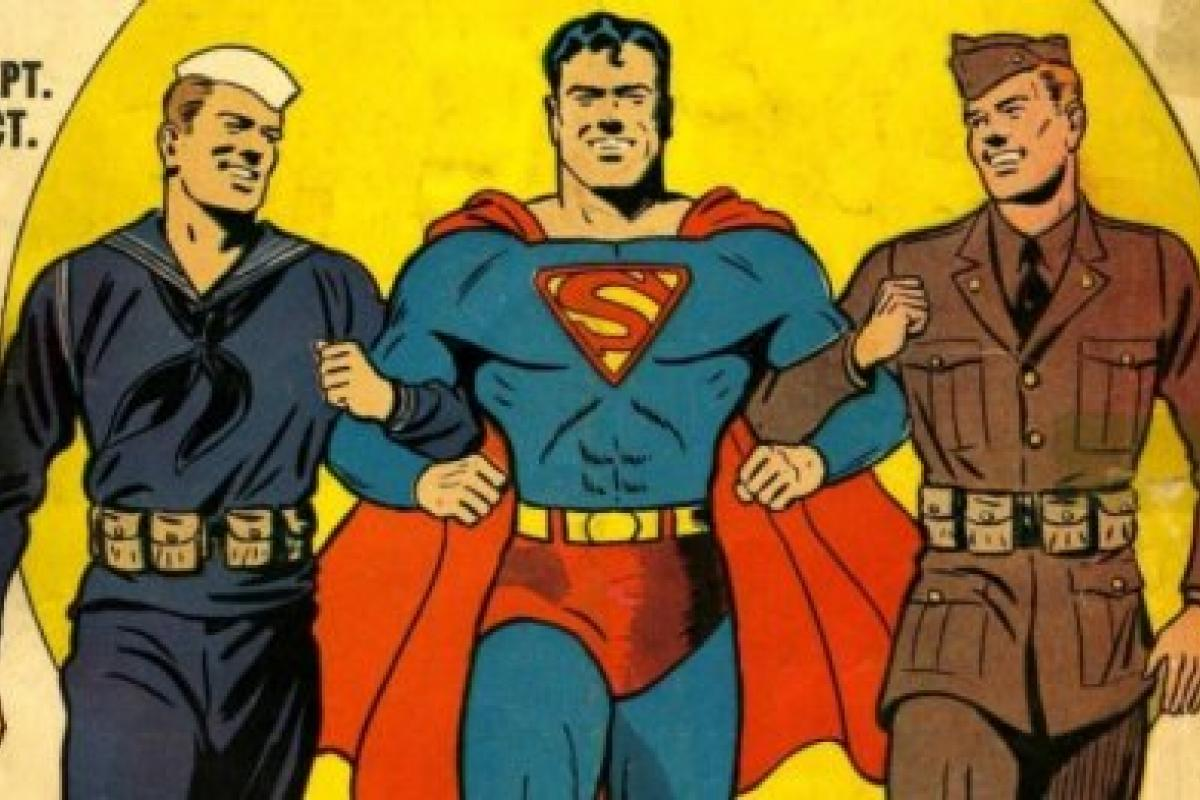 Superman walking arm in arm with military men