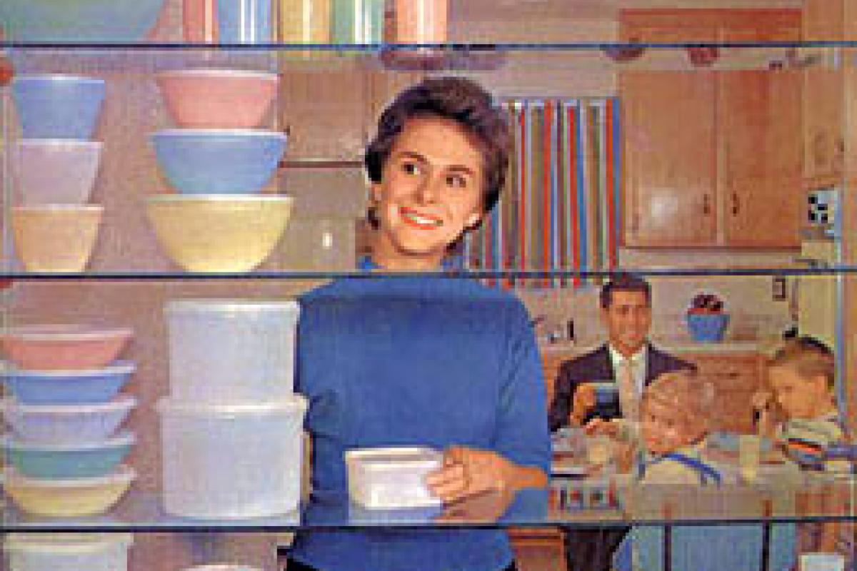 Lady with tupperware