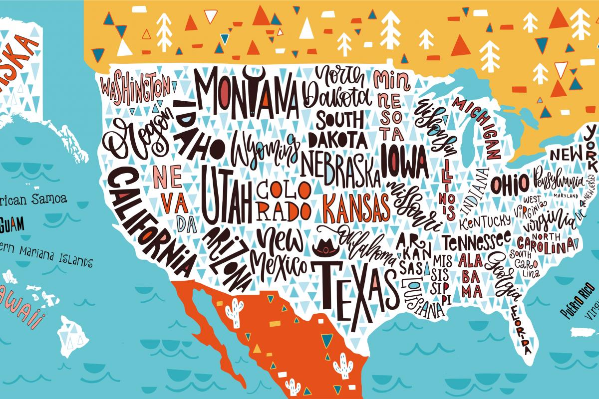 illustrated map of US states
