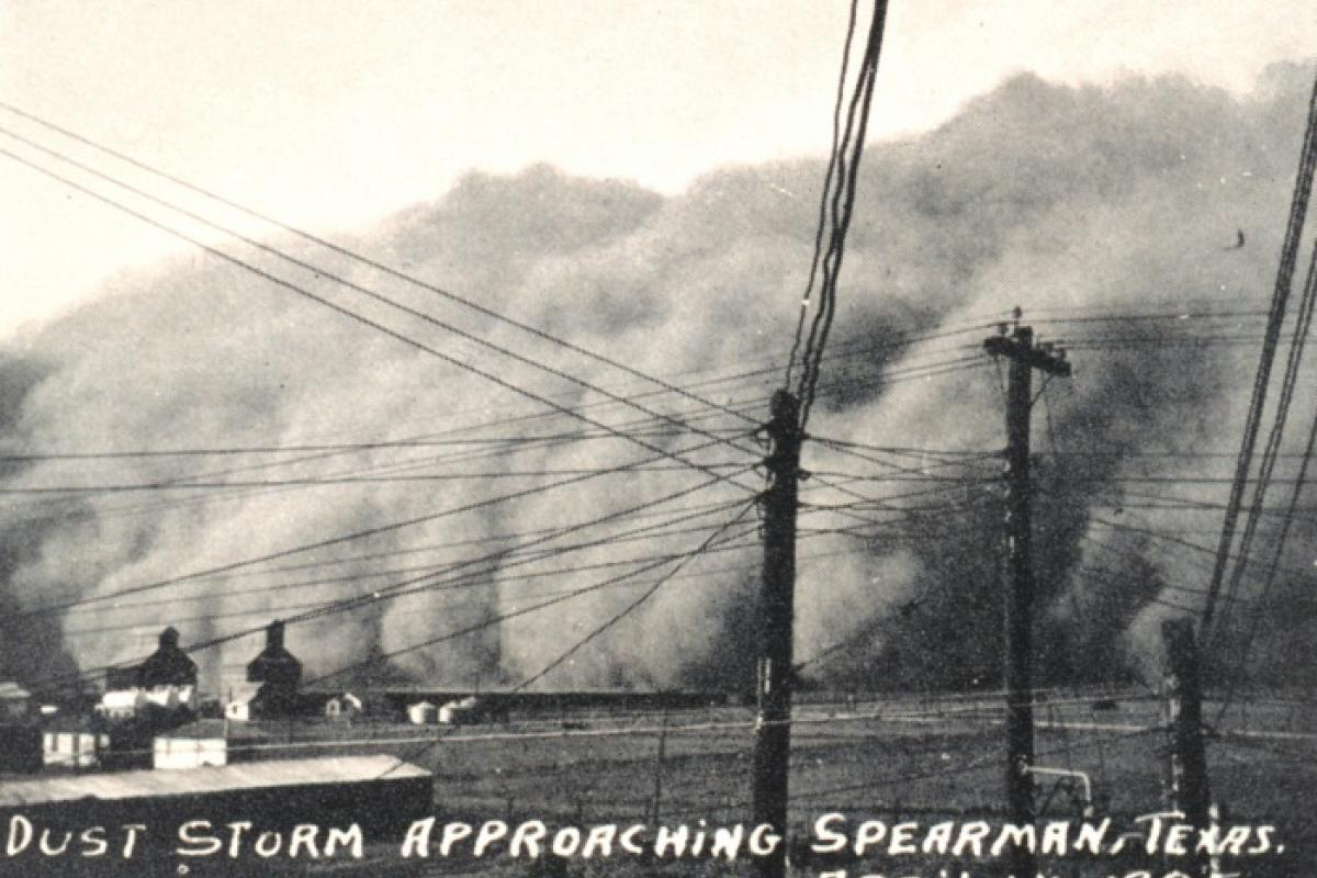 "The ""Black Sunday"" dust storm approaches Spearman in northern Texas, April 14, 1935."
