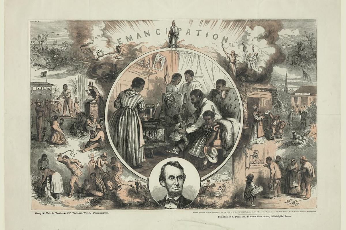 Emancipation, print by Thomas Nast, c.1865