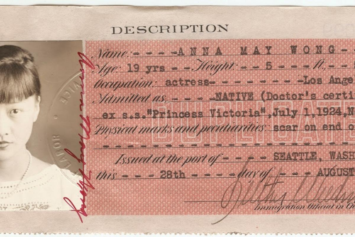 Anna May Wong Certificate of Identity, August 28, 1924