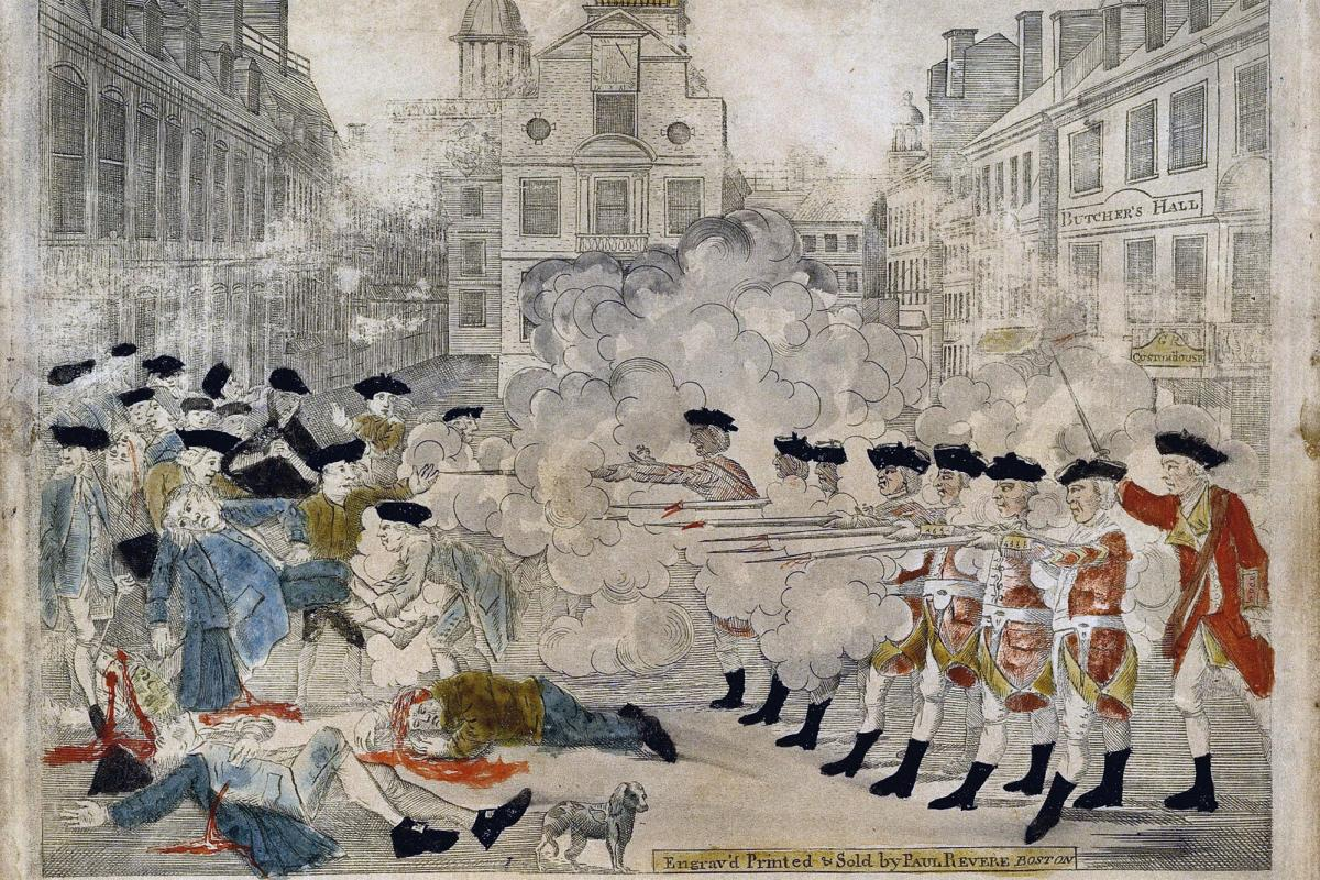 Boston Massacre as portrayed by Paul Revere.
