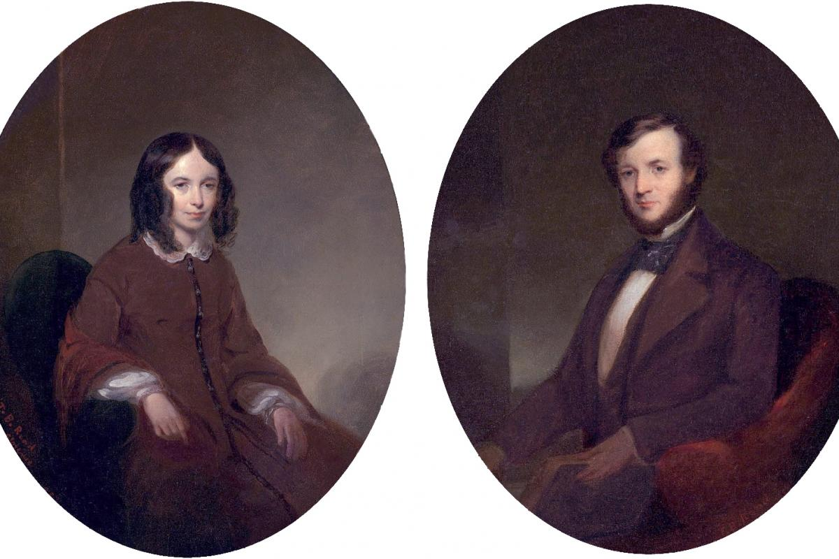 Portraits of Elizabeth Barrett Browning and Robert Browning, by Thomas B. Read