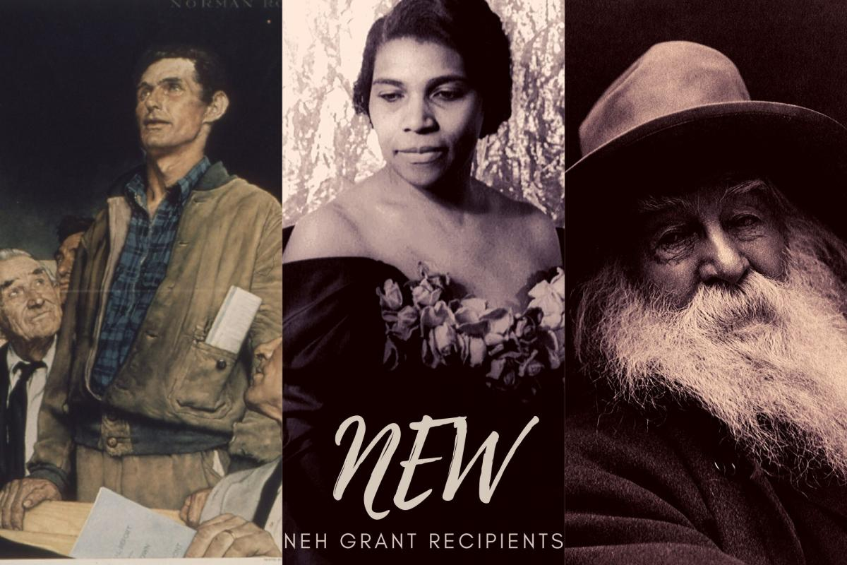 NEH grants announcement- images of Four Freedoms, Marian Anderson, Walt Whitman
