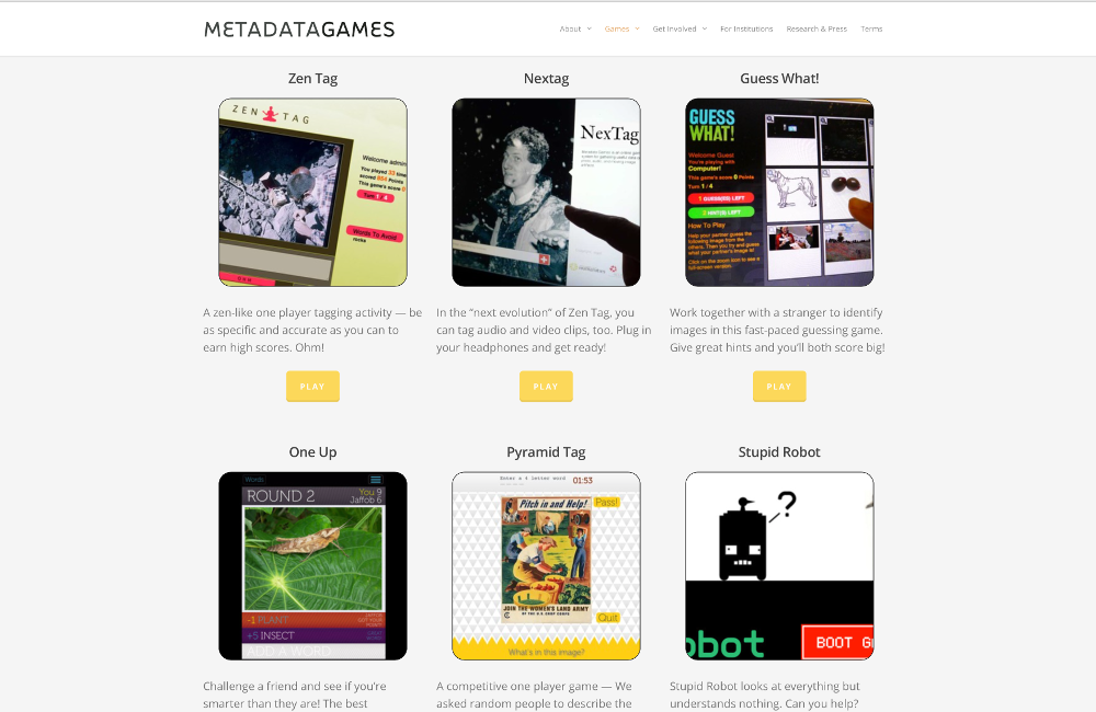 Picture of a webpage with various game applications.