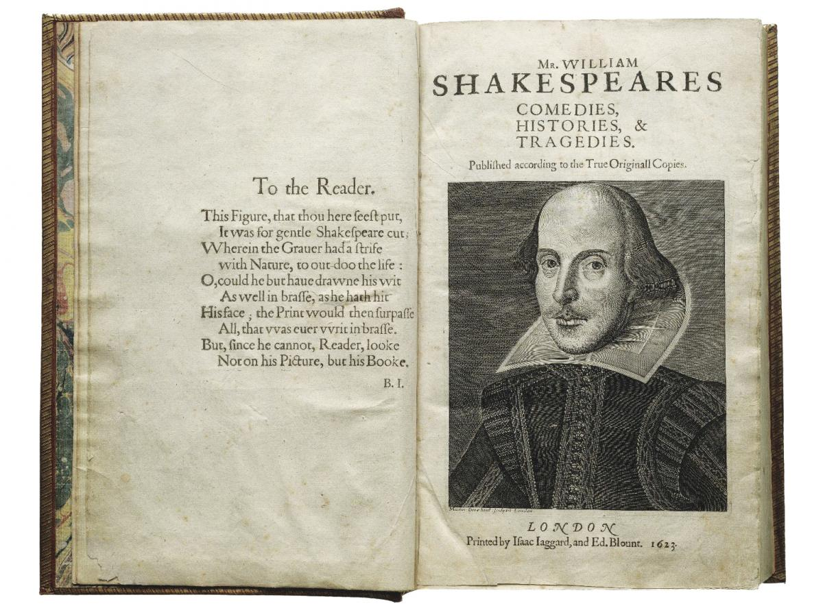 Opening pages of the First Folio with an engraving of Shakespeare on the right-hand page and an inscription to the reader on the left