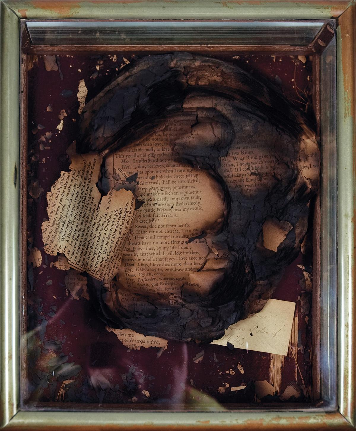 the charred remains of Edwin Forrest's copy of the First Folio