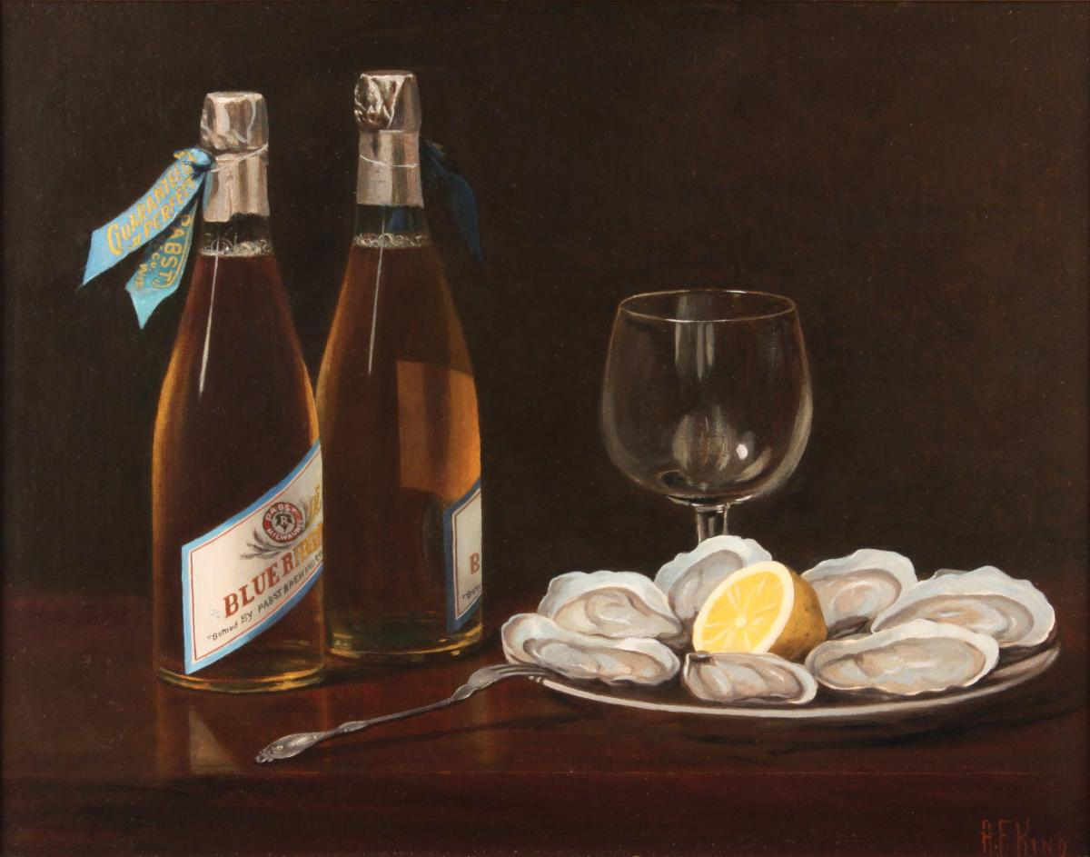 Pabst still life-style ad, featuring two bottles of beer, a plate of oysters, and an empty glass