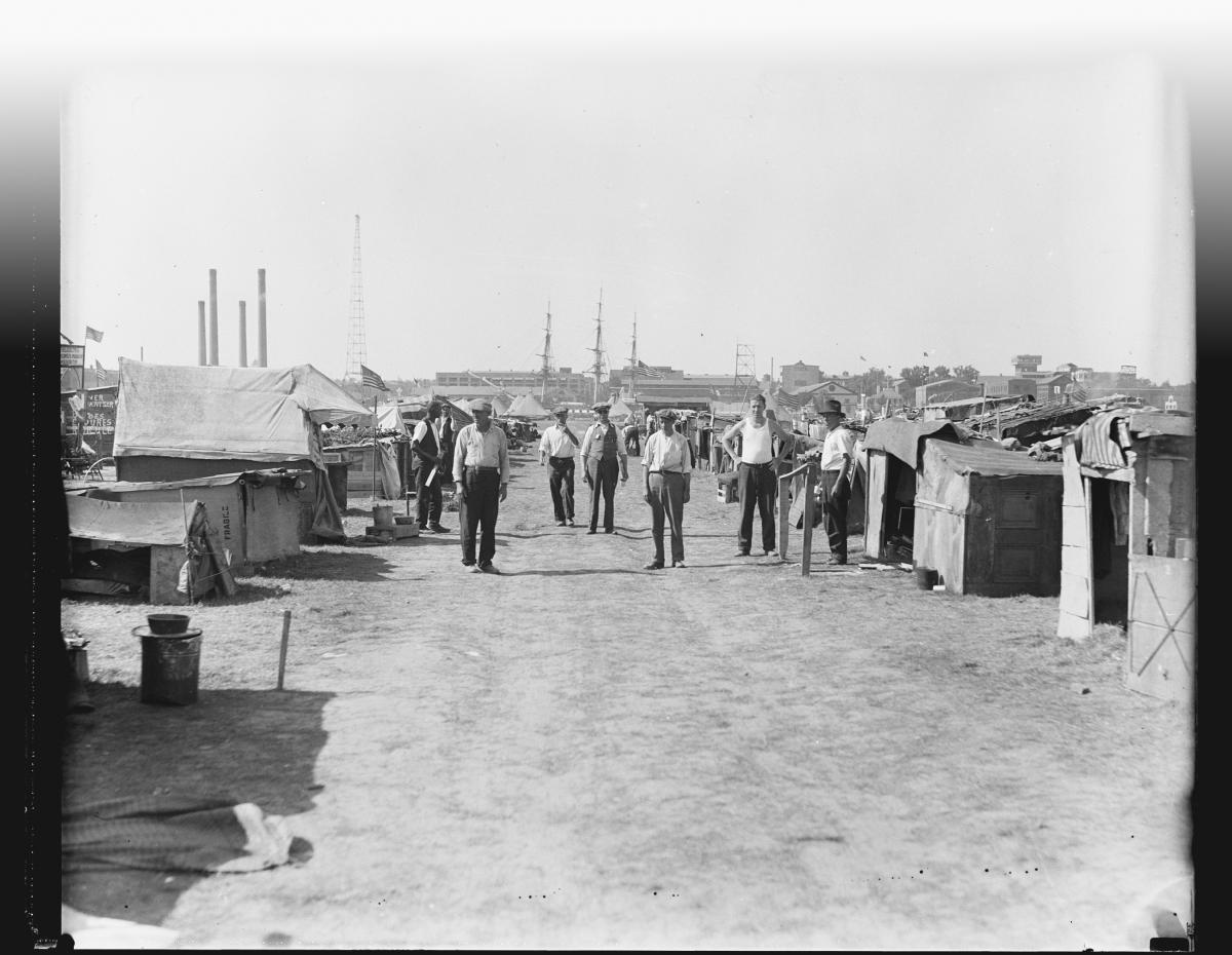"The Bonus Army camp in Anacostia, in their ""shanty town"""