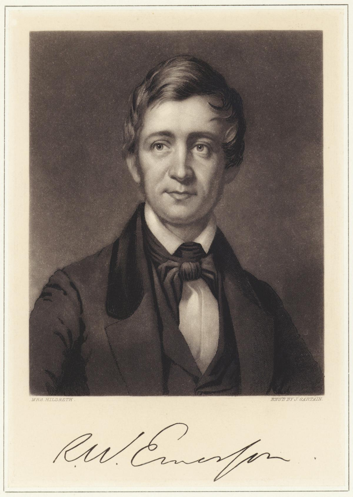 Lithograph of Ralph Waldo Emerson